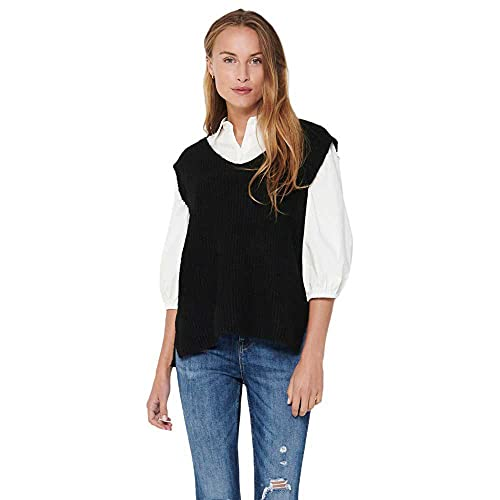 Only ONLCORA Vest EX KNT Chalecos suteres, Negro, M para Mujer